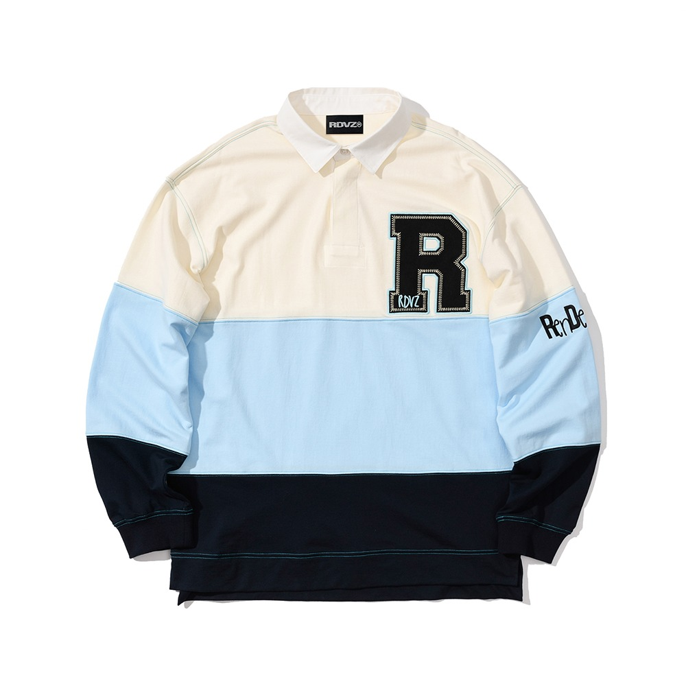 랑데부 STITCH POINT RUGBY SWEATSHIRT SKYBLUE