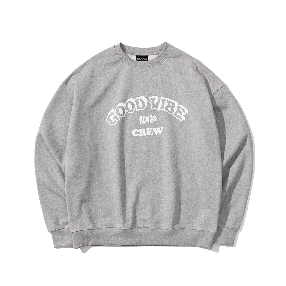 랑데부 GOOD VIBE CREW SWEAT TOP GREY
